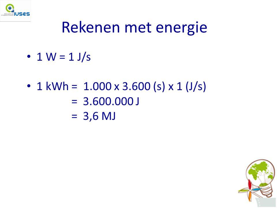 Rekenen met energie 1 W = 1 J/s 1 kWh = 1.000 x 3.600 (s) x 1 (J/s)