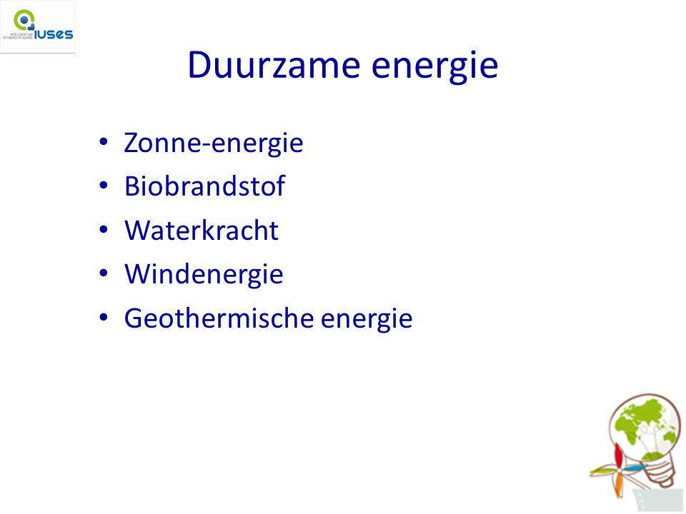 Duurzame energie Zonne-energie Biobrandstof Waterkracht Windenergie