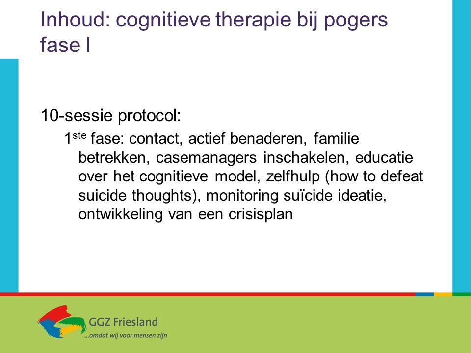Inhoud: cognitieve therapie bij pogers fase I