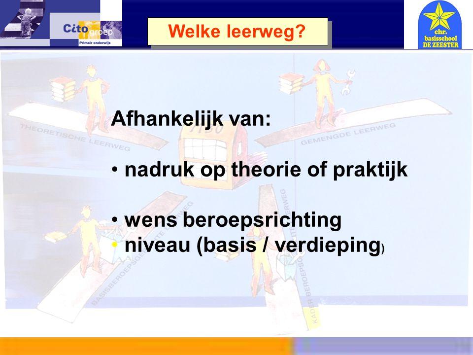 nadruk op theorie of praktijk wens beroepsrichting