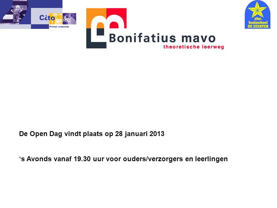 De Open Dag vindt plaats op 28 januari 2013