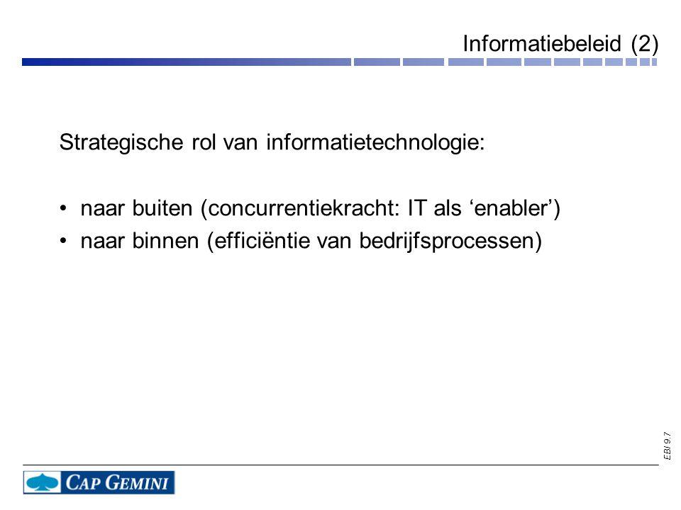 Informatiebeleid (2) Strategische rol van informatietechnologie: naar buiten (concurrentiekracht: IT als 'enabler')