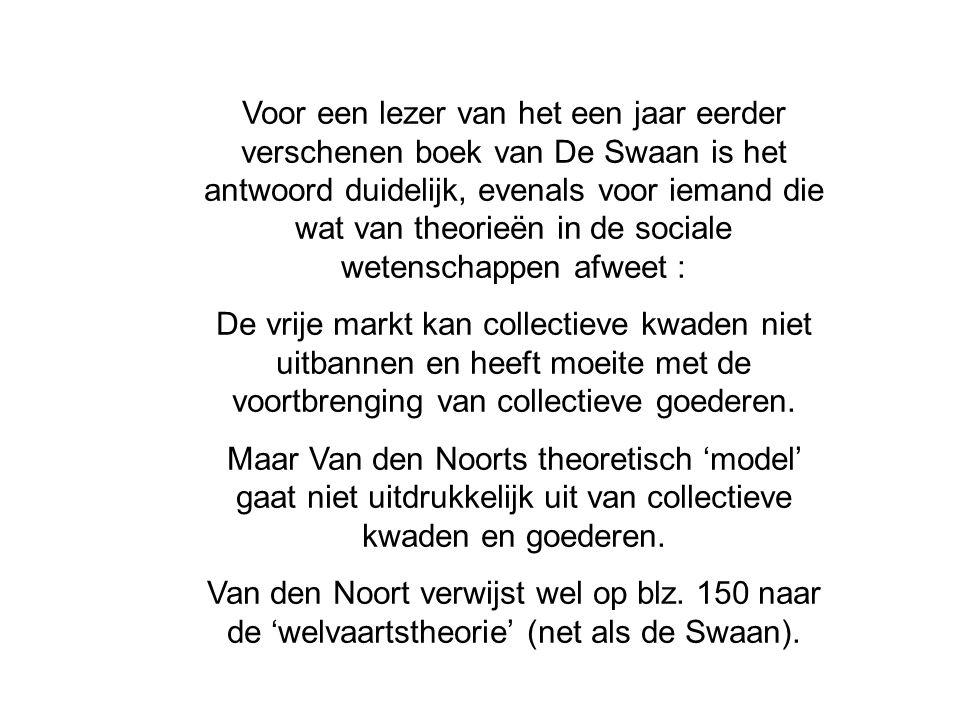 Voor een lezer van het een jaar eerder verschenen boek van De Swaan is het antwoord duidelijk, evenals voor iemand die wat van theorieën in de sociale wetenschappen afweet :