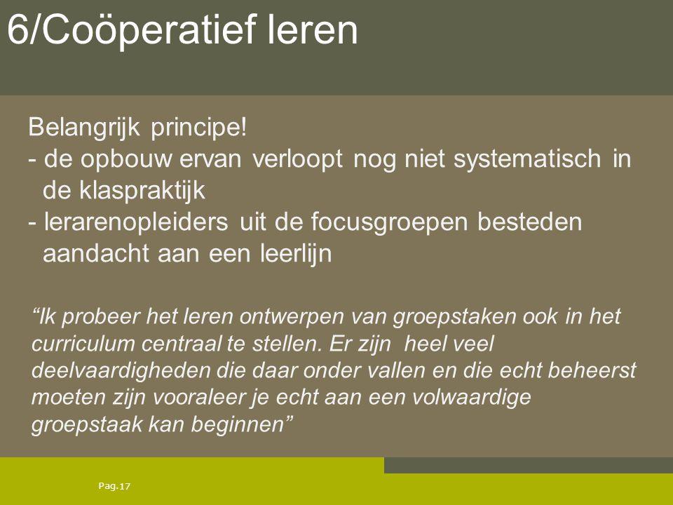 6/Coöperatief leren Belangrijk principe!