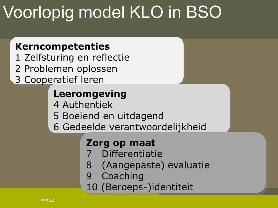 Voorlopig model KLO in BSO