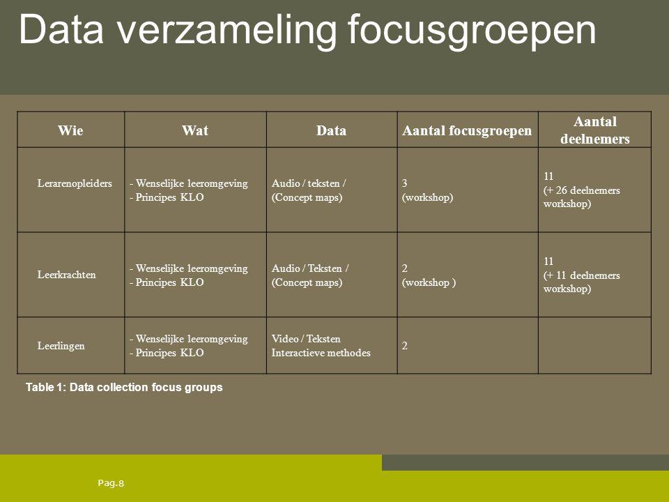 Data verzameling focusgroepen