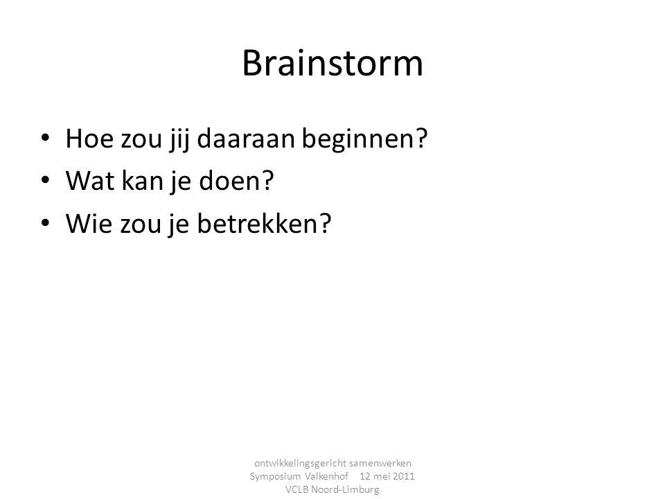 Brainstorm Hoe zou jij daaraan beginnen Wat kan je doen