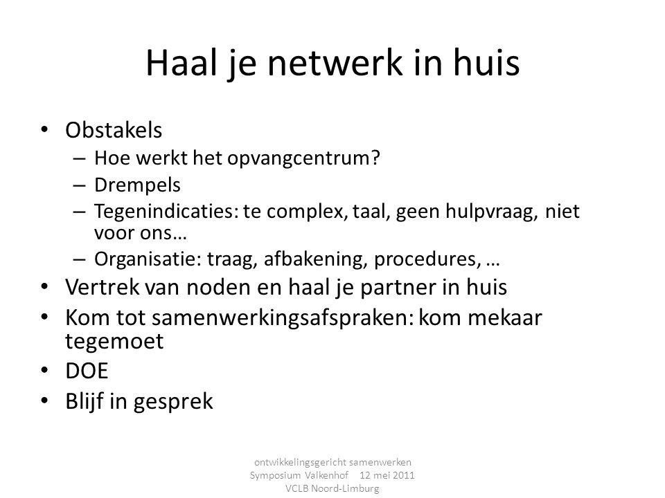 Haal je netwerk in huis Obstakels