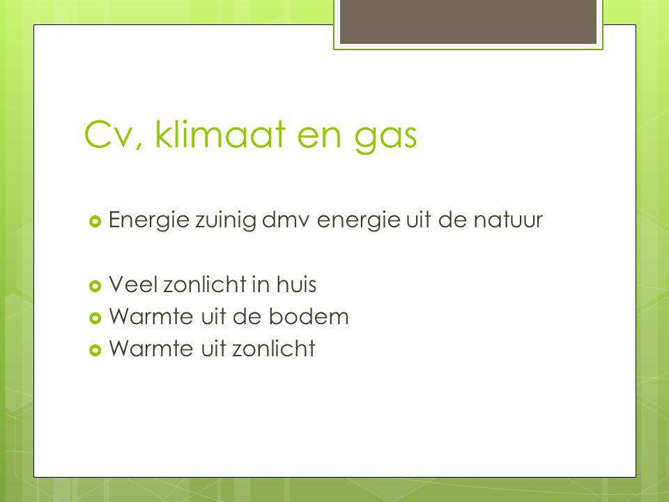 Cv, klimaat en gas Energie zuinig dmv energie uit de natuur