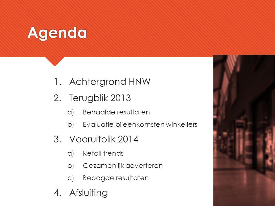 Agenda Achtergrond HNW Terugblik 2013 Vooruitblik 2014 Afsluiting