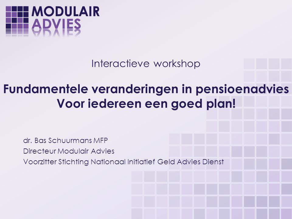 Interactieve workshop Fundamentele veranderingen in pensioenadvies Voor iedereen een goed plan!
