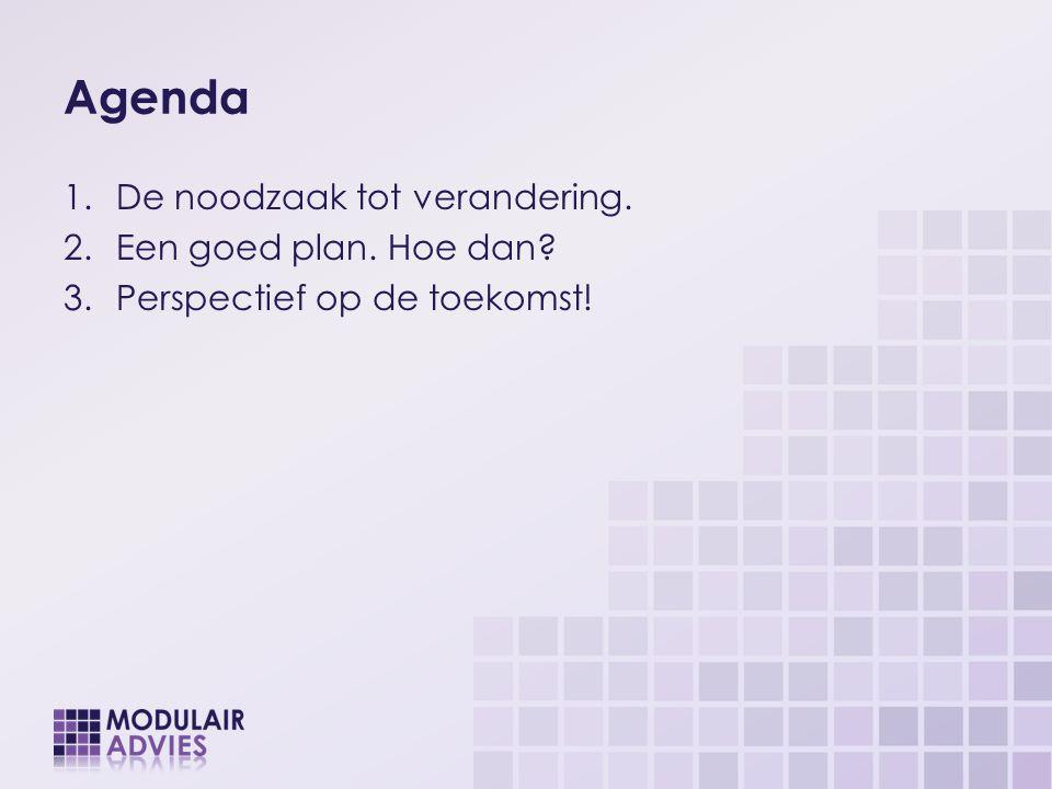 Agenda De noodzaak tot verandering. Een goed plan. Hoe dan