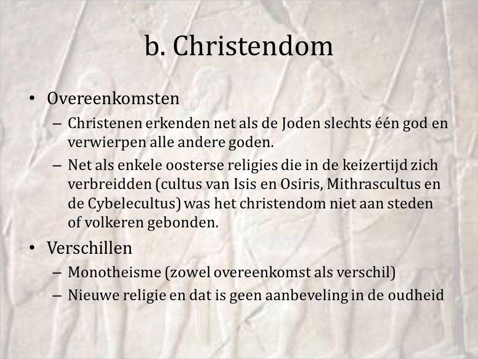 b. Christendom Overeenkomsten Verschillen