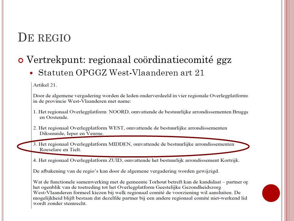 De regio Vertrekpunt: regionaal coördinatiecomité ggz