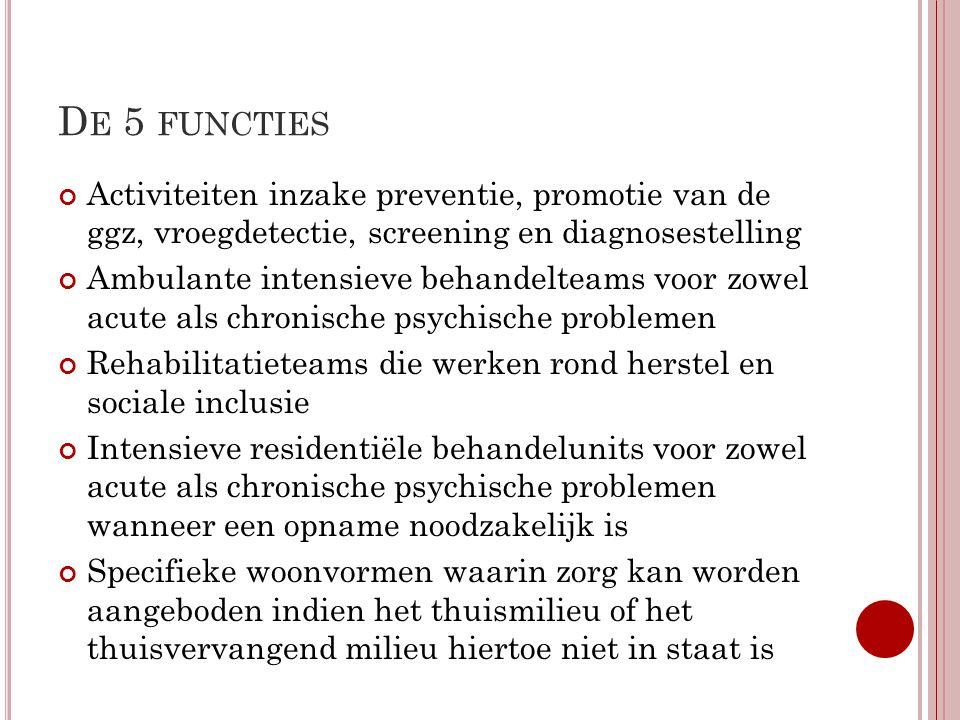 De 5 functies Activiteiten inzake preventie, promotie van de ggz, vroegdetectie, screening en diagnosestelling.