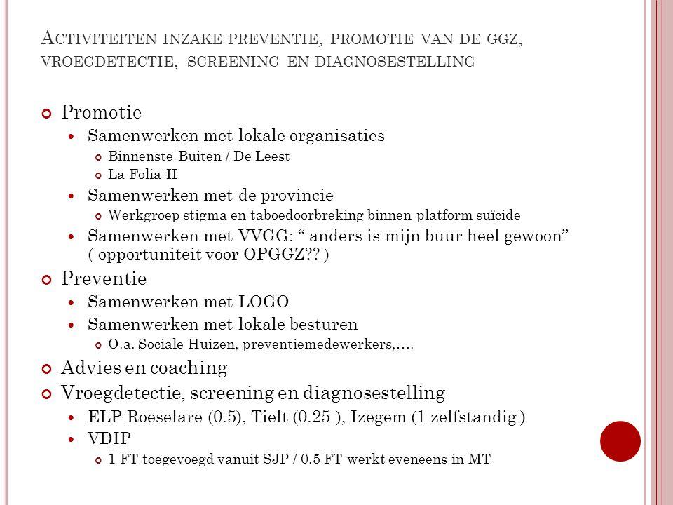 Activiteiten inzake preventie, promotie van de ggz, vroegdetectie, screening en diagnosestelling