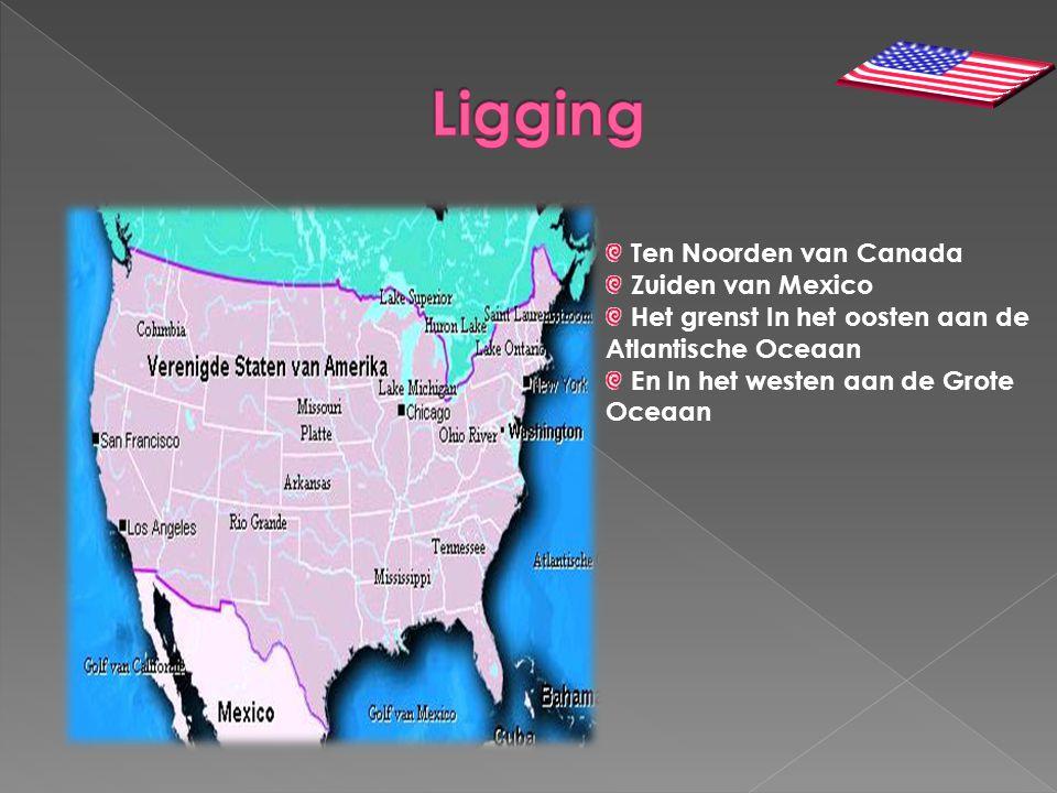 Ligging Ten Noorden van Canada Zuiden van Mexico