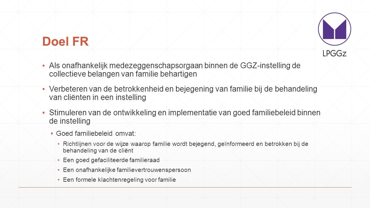 Doel FR Als onafhankelijk medezeggenschapsorgaan binnen de GGZ-instelling de collectieve belangen van familie behartigen.