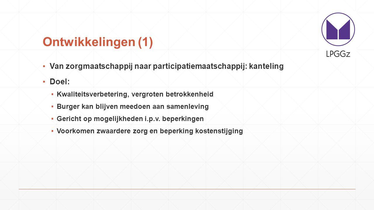 Ontwikkelingen (1) Van zorgmaatschappij naar participatiemaatschappij: kanteling. Doel: Kwaliteitsverbetering, vergroten betrokkenheid.