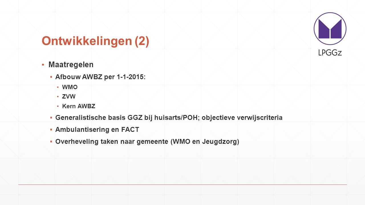 Ontwikkelingen (2) Maatregelen Afbouw AWBZ per 1-1-2015: