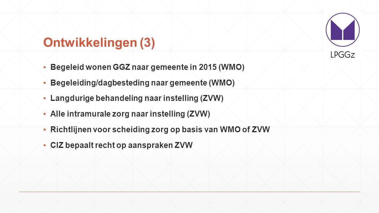 Ontwikkelingen (3) Begeleid wonen GGZ naar gemeente in 2015 (WMO)