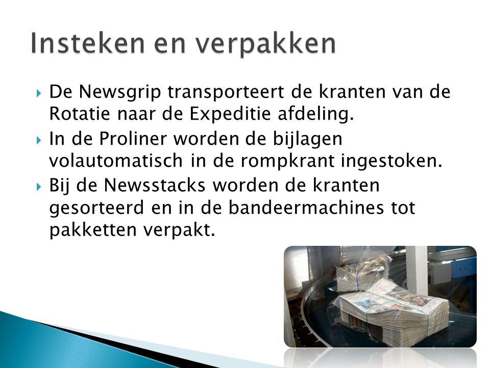 Insteken en verpakken De Newsgrip transporteert de kranten van de Rotatie naar de Expeditie afdeling.