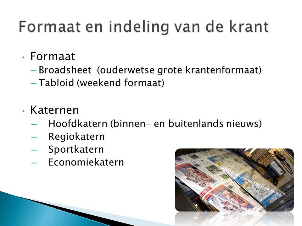 Formaat en indeling van de krant