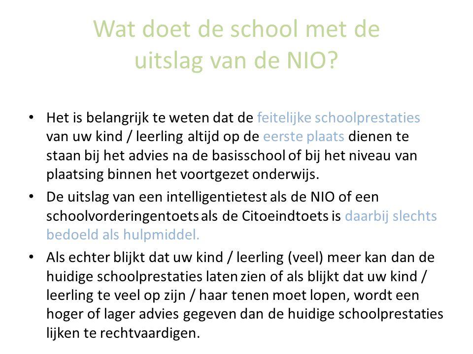 Wat doet de school met de uitslag van de NIO