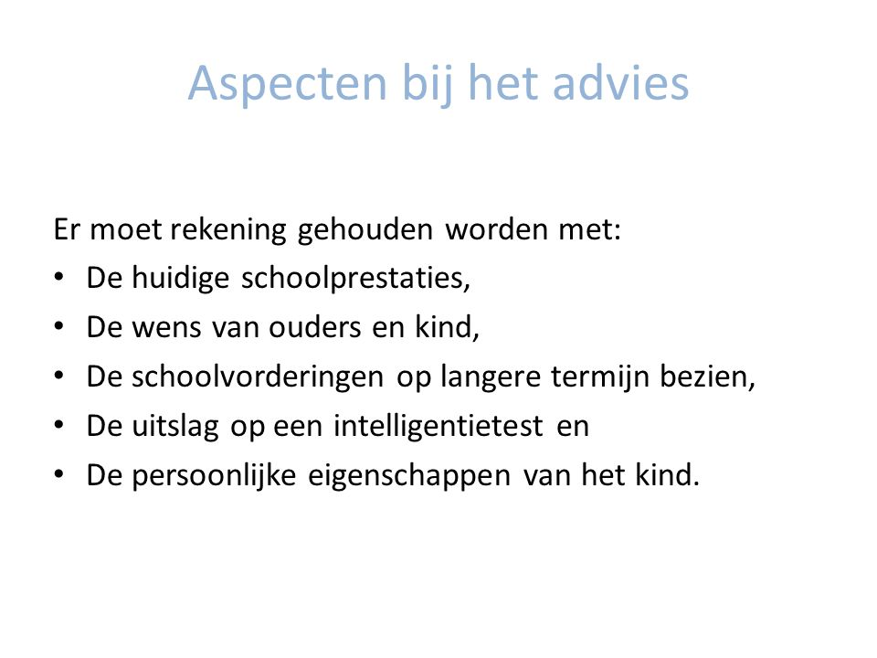 Aspecten bij het advies