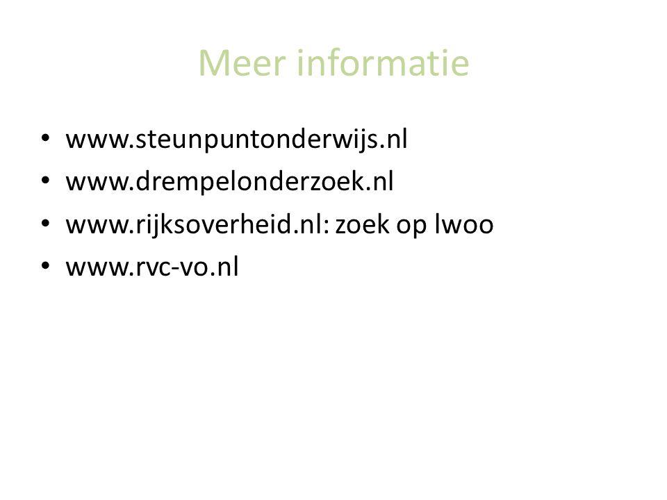 Meer informatie www.steunpuntonderwijs.nl www.drempelonderzoek.nl