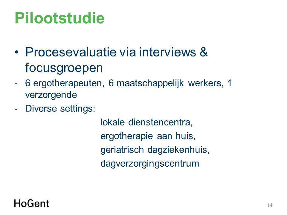 Pilootstudie Procesevaluatie via interviews & focusgroepen