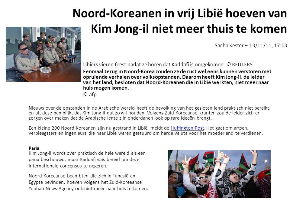 Noord-Koreanen in vrij Libië hoeven van Kim Jong-il niet meer thuis te komen Sacha Kester − 13/11/11, 17:03