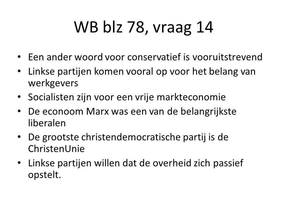 WB blz 78, vraag 14 Een ander woord voor conservatief is vooruitstrevend. Linkse partijen komen vooral op voor het belang van werkgevers.