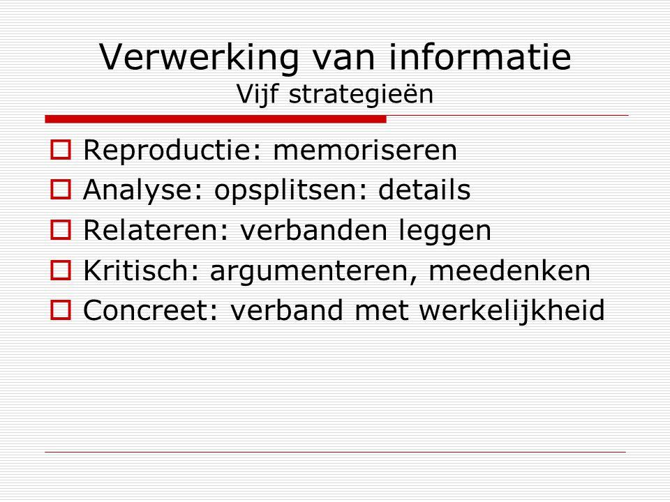 Verwerking van informatie Vijf strategieën