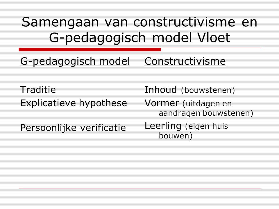Samengaan van constructivisme en G-pedagogisch model Vloet
