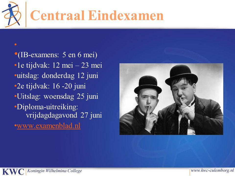 Centraal Eindexamen 1e tijdvak: 12 mei – 23 mei
