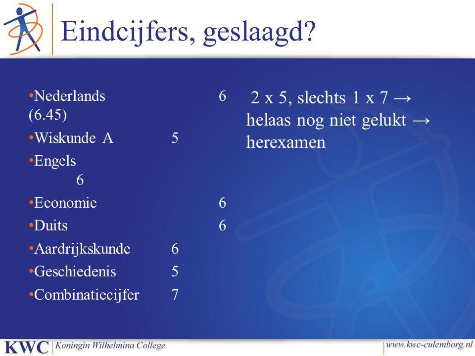 Eindcijfers, geslaagd Nederlands 6 (6.45) Wiskunde A 5. Engels 6. Economie 6. Duits 6.