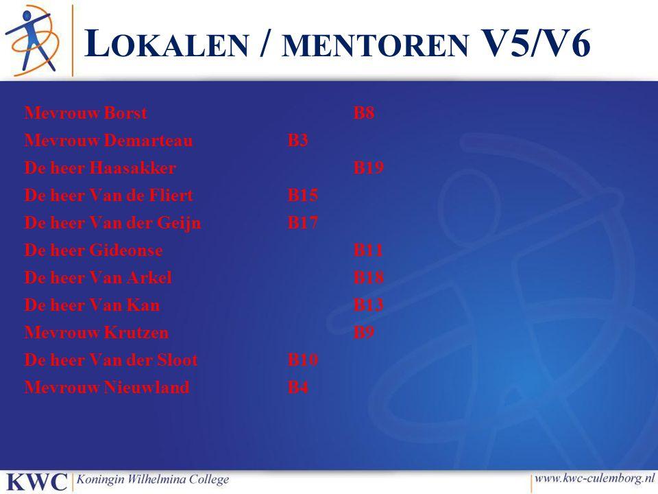 Lokalen / mentoren V5/V6 Mevrouw Borst B8 Mevrouw Demarteau B3