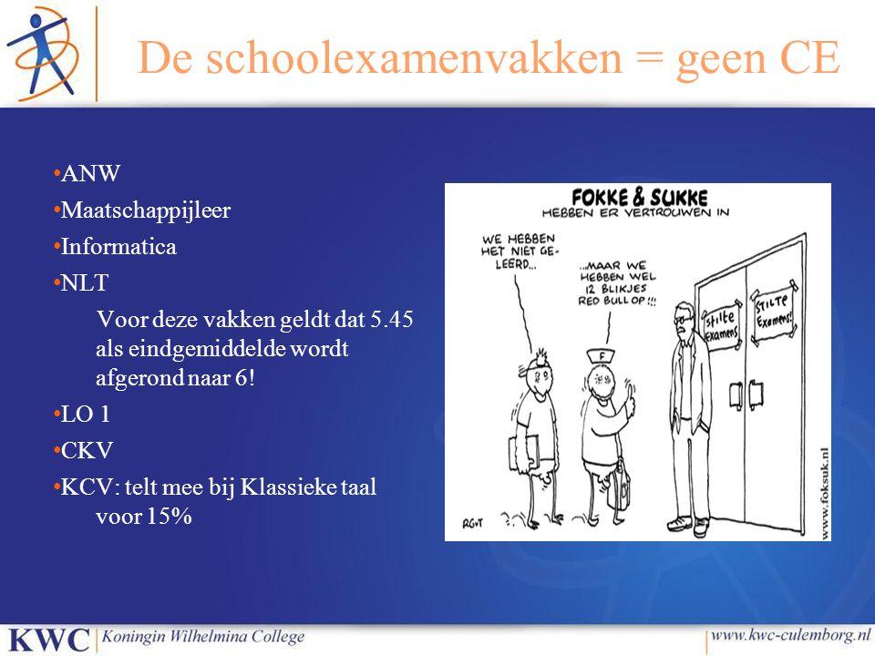 De schoolexamenvakken = geen CE
