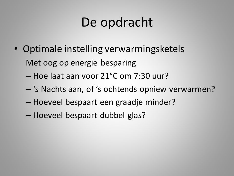 De opdracht Optimale instelling verwarmingsketels