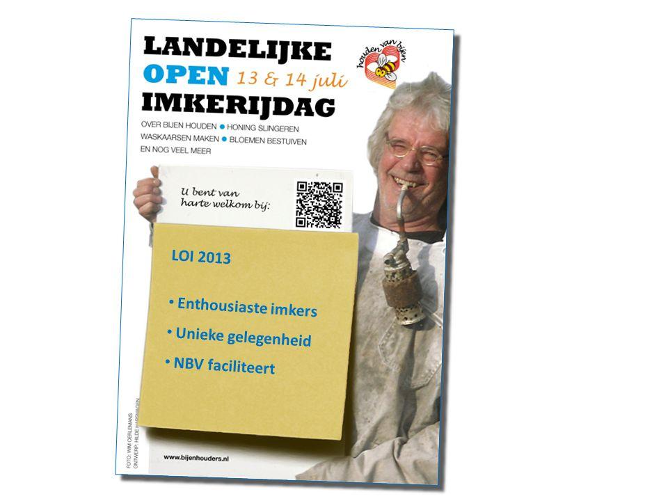 LOI 2013 Enthousiaste imkers Unieke gelegenheid NBV faciliteert