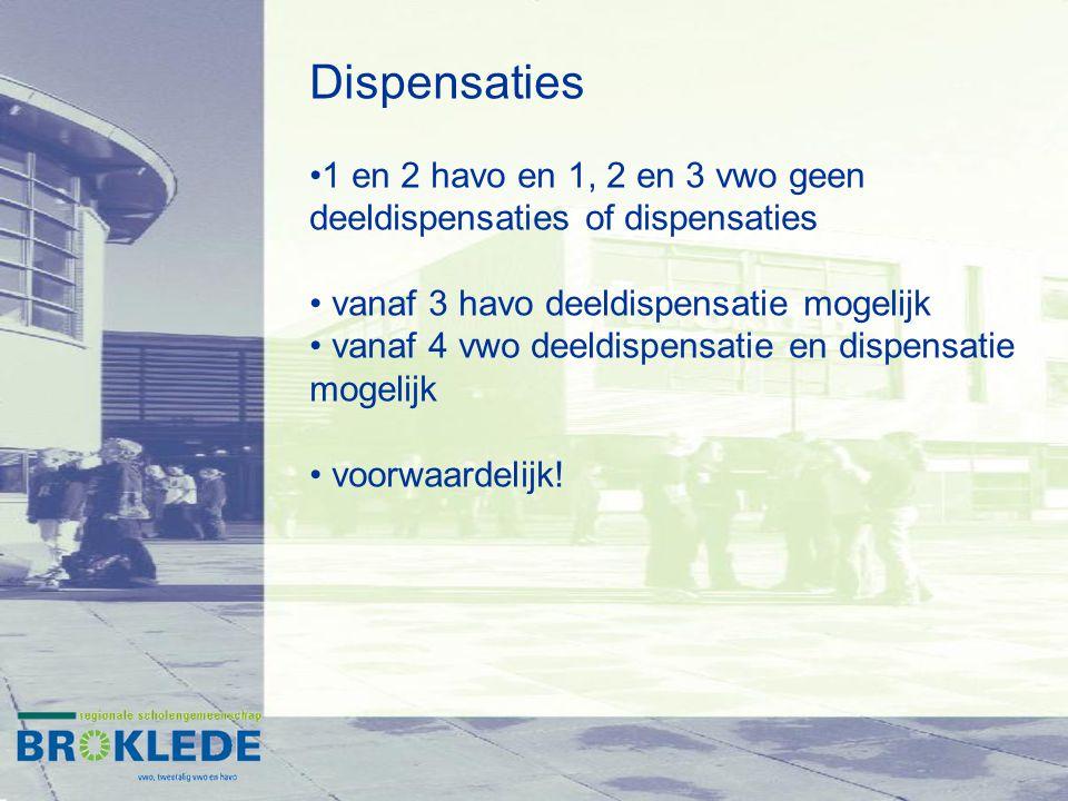 Dispensaties 1 en 2 havo en 1, 2 en 3 vwo geen deeldispensaties of dispensaties. vanaf 3 havo deeldispensatie mogelijk.