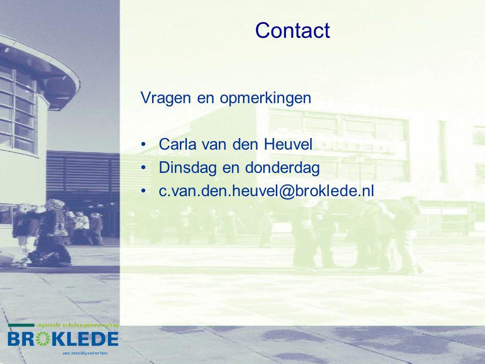 Contact Vragen en opmerkingen Carla van den Heuvel