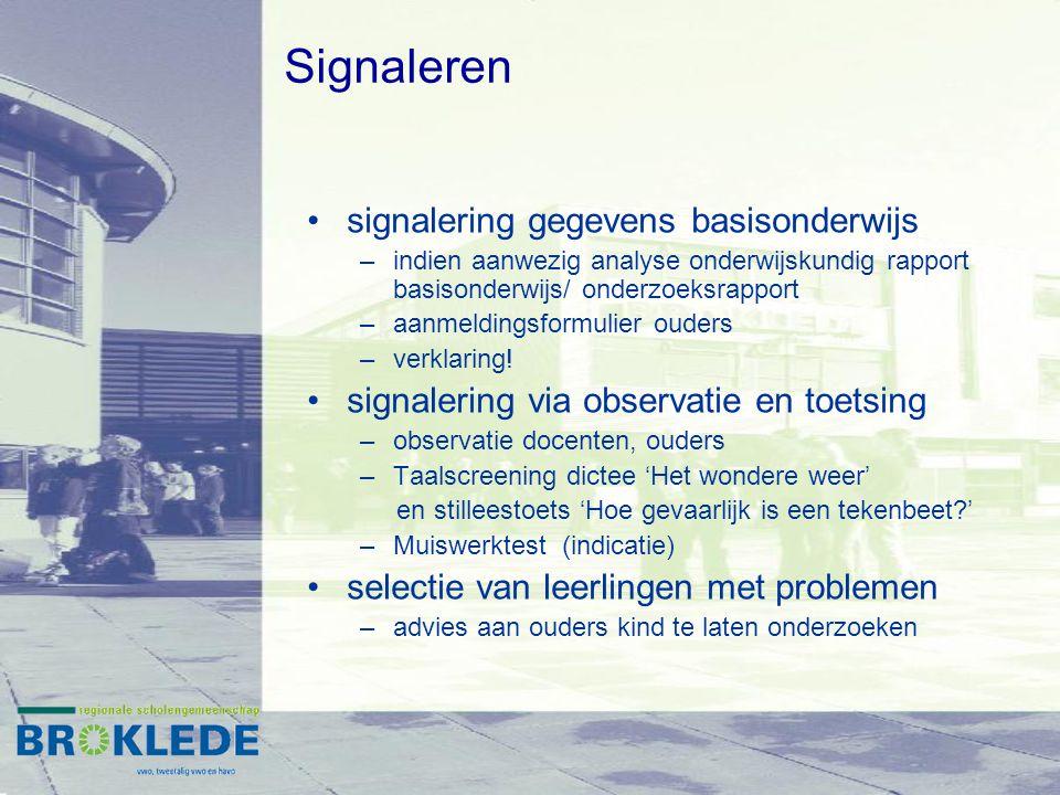Signaleren signalering gegevens basisonderwijs
