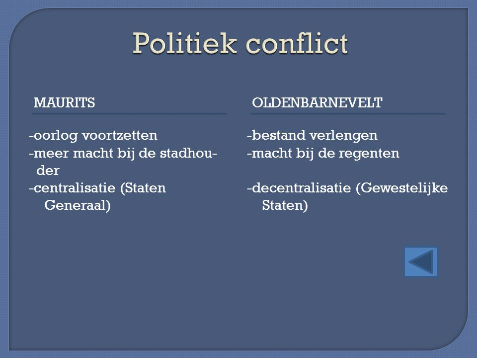 Politiek conflict Maurits Oldenbarnevelt