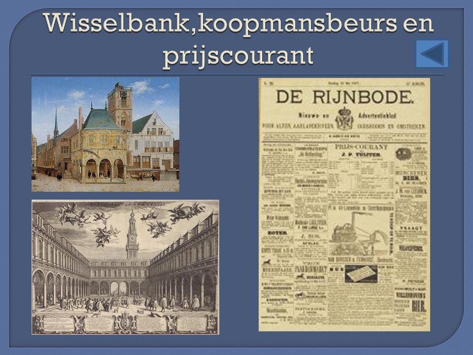 Wisselbank,koopmansbeurs en prijscourant