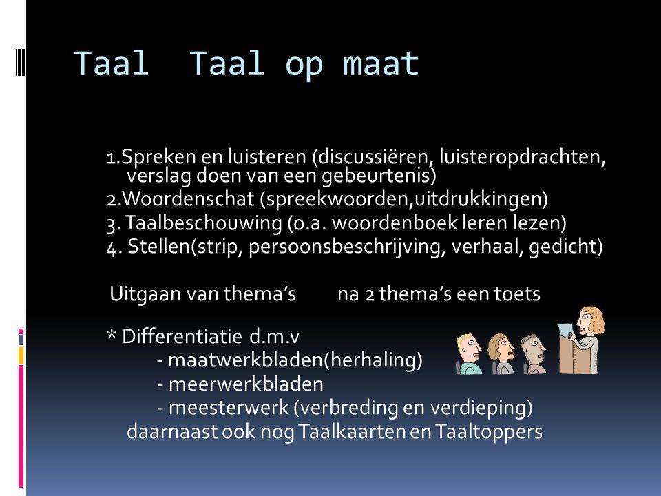 Taal Taal op maat 1.Spreken en luisteren (discussiëren, luisteropdrachten, verslag doen van een gebeurtenis)