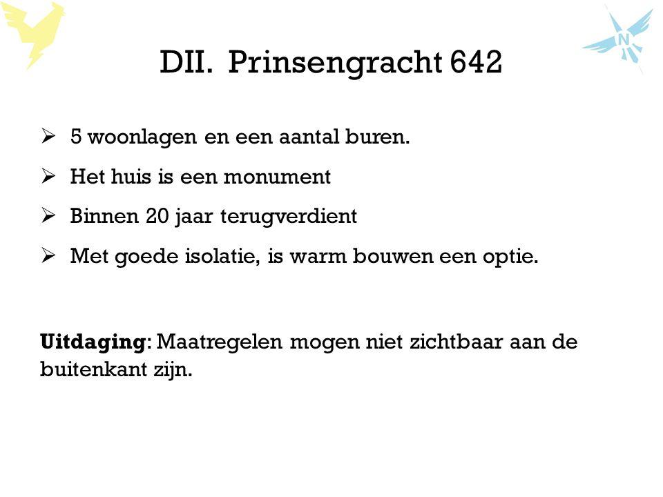 DII. Prinsengracht 642 5 woonlagen en een aantal buren.