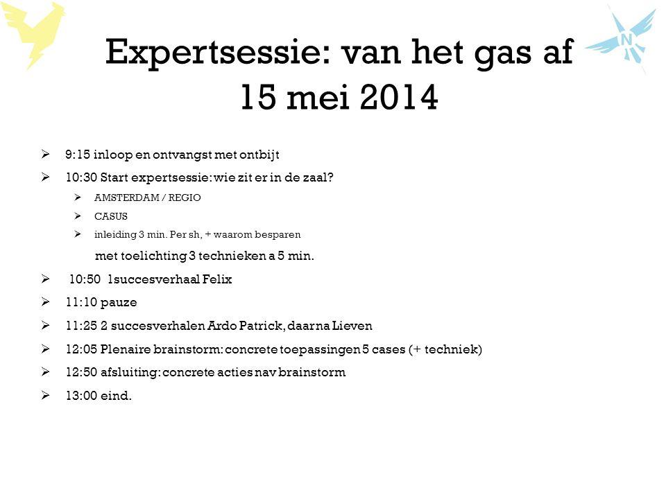 Expertsessie: van het gas af 15 mei 2014