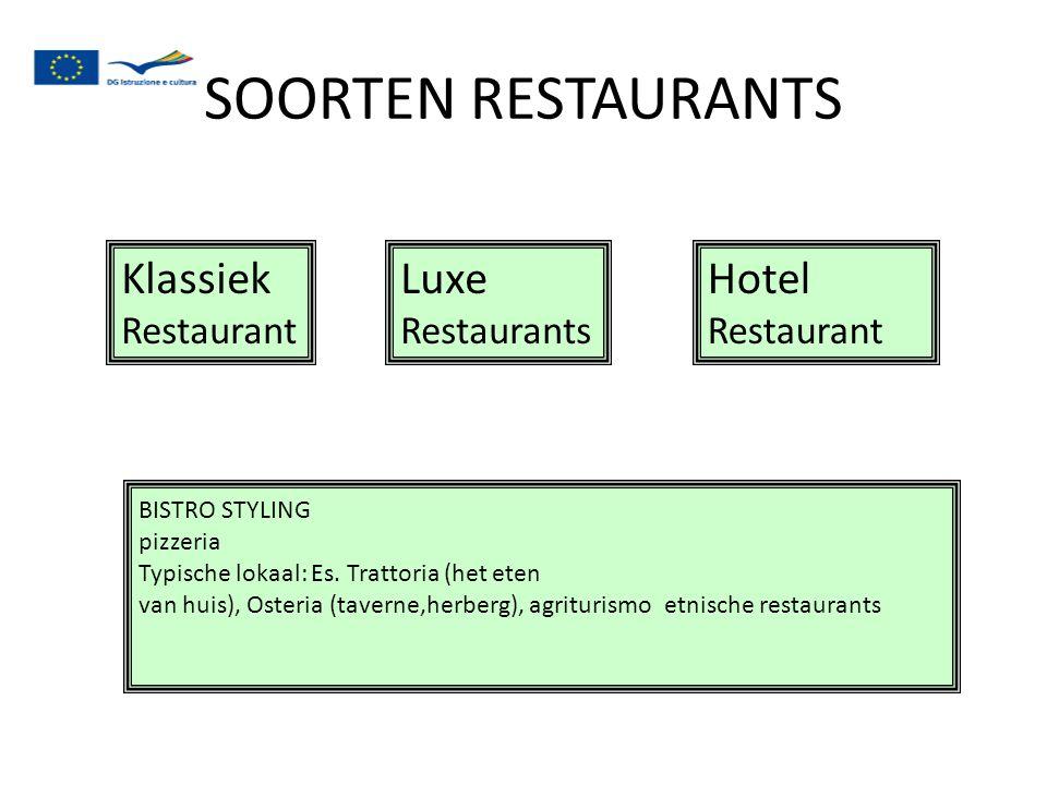 SOORTEN RESTAURANTS Klassiek Luxe Hotel Restaurant Restaurant